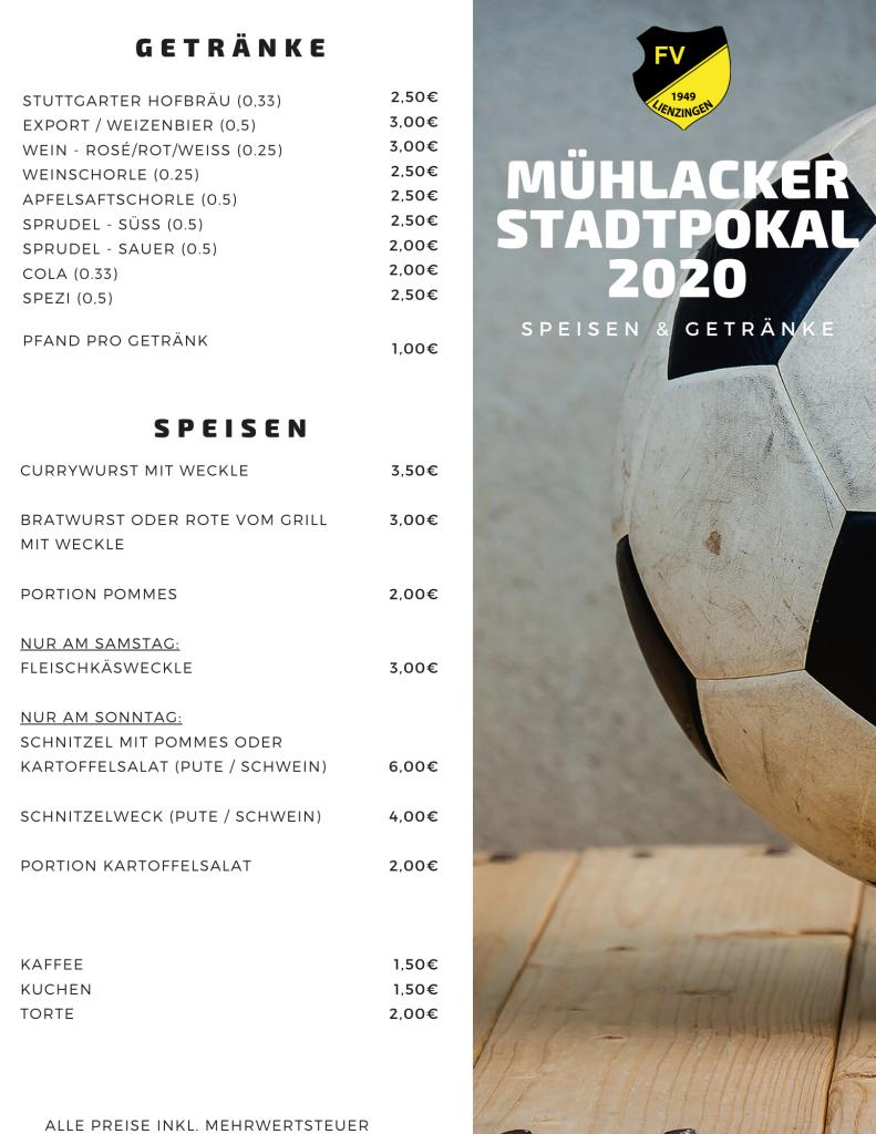 Speise- und Getränkekarte Stadtpokal 2020.